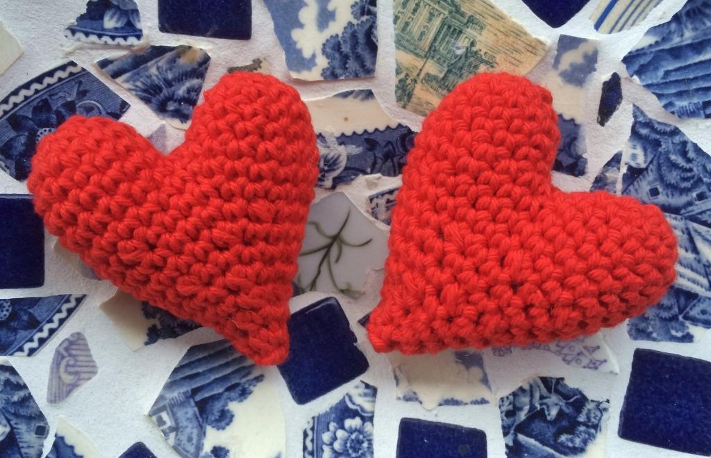 Hjärtan på mosaik